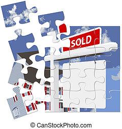 real estate, daheim, verkauften zeichen, puzzel