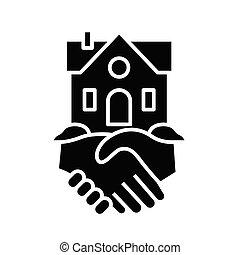 Real estate deal black icon, concept illustration, vector flat symbol, glyph sign.