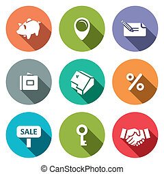Real Estate Deal flat icon collection - Real Estate Deal...