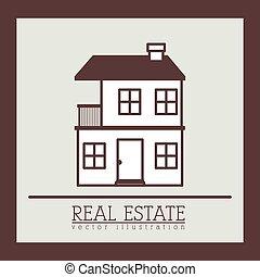 Real estate design over brown background, vector ...