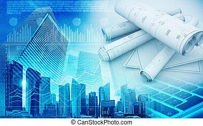 real estate development abstract blue background 3d illustration