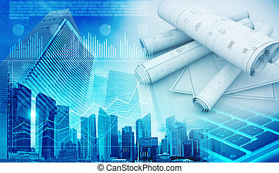 real estate development abstract blue background 3d illustration