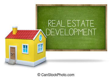 Real estate development on blackboard