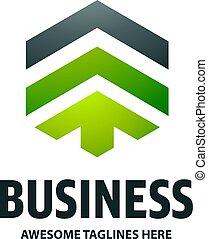 Real estate development with arrow logo concept icon