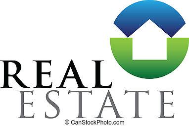 Real estate emblem - Green and blue vector emblem for...