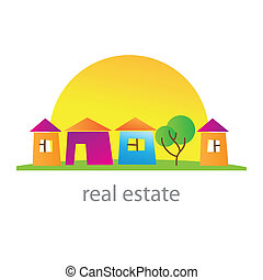 real-estate - Real estate. Cottage town. Template. Vector.
