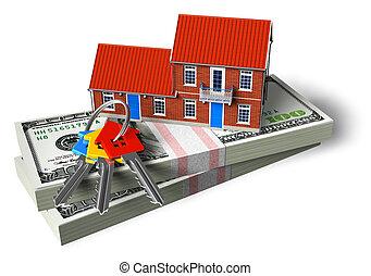 Real estate financial concept - Red brick cottage on stacks ...