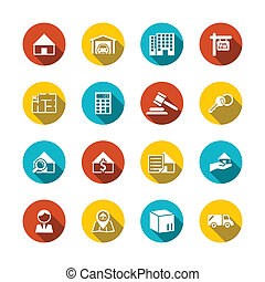 Real Estate Flat Icons - Real estate flat icons set of key...