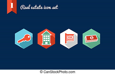 Real estate flat icons set collection