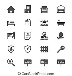 Real estate flat icons - Simple vector icons. Clear and ...