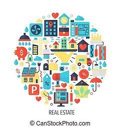 Real estate flat infographics icons in circle - color concept illustration for Real estate cover, emblem, template.
