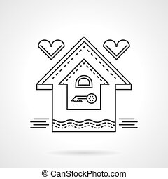 Real estate flat line vector icon. Family house