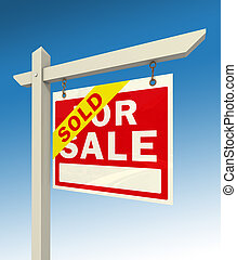 for sale red sign and word sold