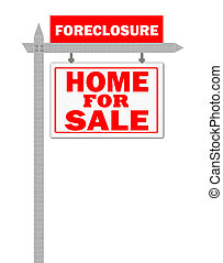 Real Estate For Sale Sign, foreclosed