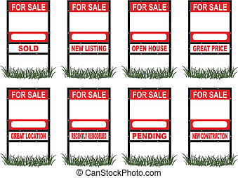 Illustration of a real estate for sale sign in standard size with eight different riders signs indicating sold, pending, etc. as well as open space for your phone number and other information.