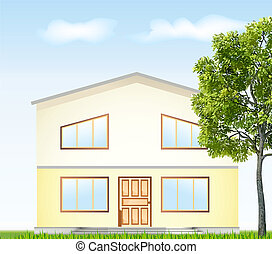 Real Estate For Sale. Vector illustration facade with tree