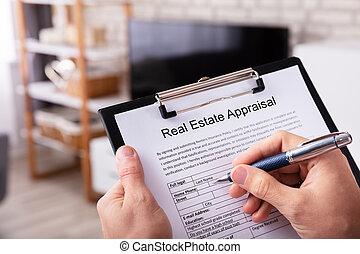 real estate, form, füllung, schätzung, mann