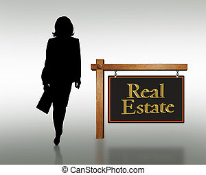 real estate, frau, silhouette