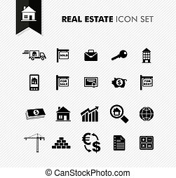 Real Estate fresh icon set. - Modern Real Estate rental, ...