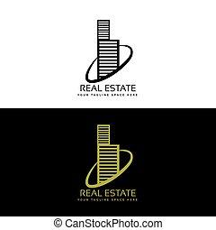 real estate, gebäude, geschaeftswelt, logo, begriff, design