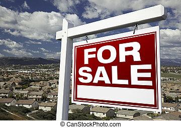 real estate, gehäuse, verkauf, erhöht, zeichen,...