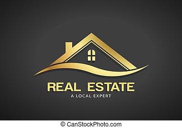 Real Estate Gold Logo Vector Template - Concept for an...