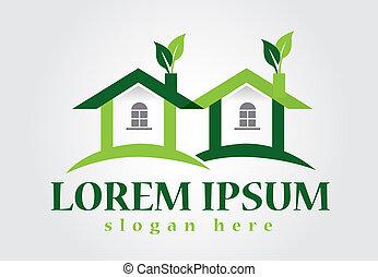 Real estate green house logo