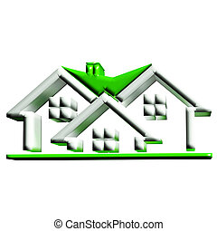 Real estate green houses 3D logo