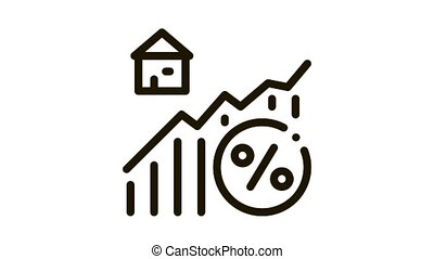real estate growth infographic Icon Animation. black real estate growth infographic animated icon on white background