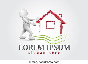 real estate, haus, -3d, weißes, leute, logo