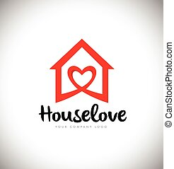 Real Estate Heart Love Logo House