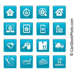 real estate, heiligenbilder, auf, blaues, quadrate