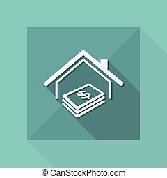 Real estate - Home cost - Vector web icon