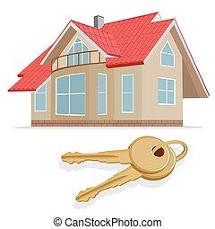 real estate, home, keys, vector