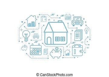 Real estate home outline icon concept