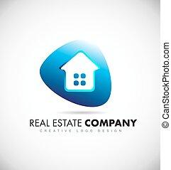 Real estate house blue logo icon design