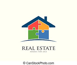 Real Estate House in Puzzle pieces logo design. Vector illustration