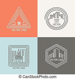 Real estate house linear logos, emblems vector set