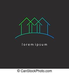 Thin gradient line houses