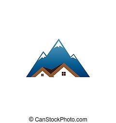 Real estate house mountain logo template
