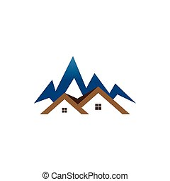 Real estate house mountain logo template