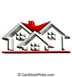 Real estate houses 3D logo