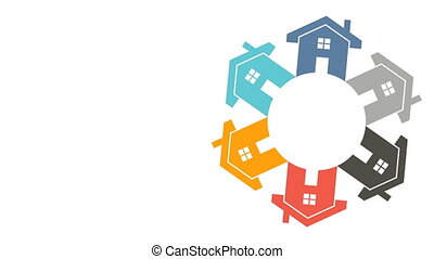 Real Estate Houses Community. Video Logo Animation - Group...