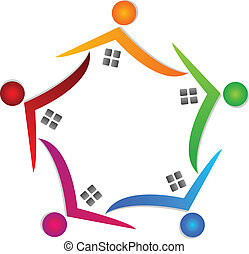 Houses teamwork colorful icon vector