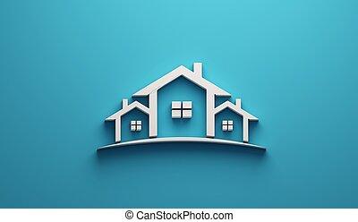 Real Estate Houses Logo Design in blue background . 3D Rendering Illustration