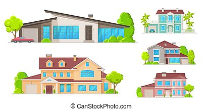 Real estate houses, residential cottage buildings