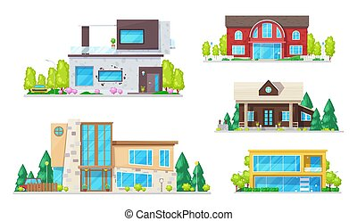 Real estate houses, villas and bungalow buildings