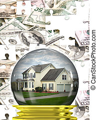 Real Estate Housing Market - A housing crisis concept with a...