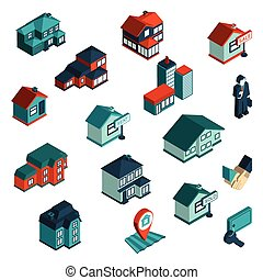 Real estate icon isometric set with houses and commercial buildings 3d isolated vector illustration