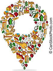 Real estate icon Pin Pointer set
